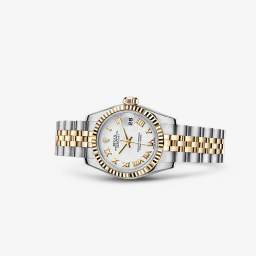 179173-0182 : Rolex Lady-Datejust 26 Rolesor Fluted White Jubilee