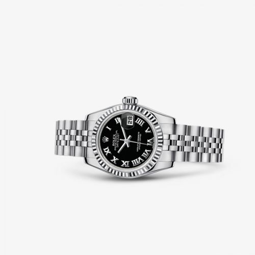 179174-0096 : Rolex Lady-Datejust 26 Fluted Black Jubilee