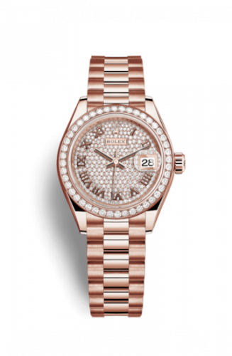 279135rbr-0021 : Rolex Lady-Datejust 28 Everose Diamond / President / Paved Roman