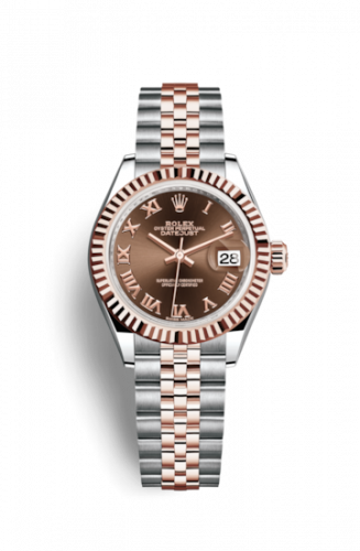 Rolex 279171-0009 : Lady-Datejust 28 Rolesor Rose Fluted / Jubilee / Chocolate Roman