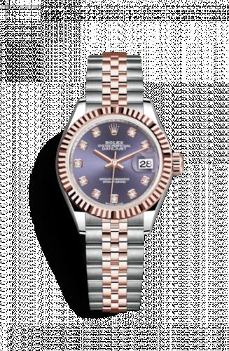 Rolex 279171-0015 : Lady-Datejust 28 Rolesor Rose Fluted / Jubilee / Aubergine Diamonds