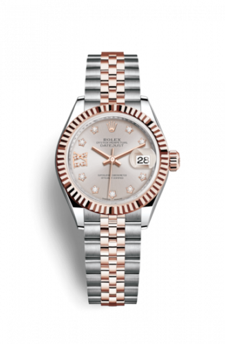 279171-0019 : Rolex Lady-Datejust 28 Rolesor Rose Fluted / Jubilee / Sundust Diamond