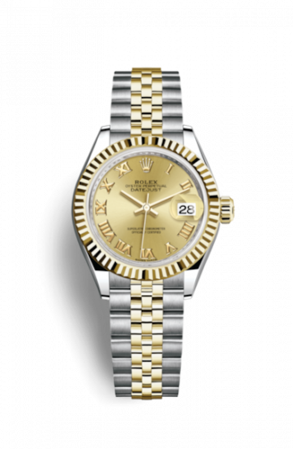 279173-0009 : Rolex Lady-Datejust 28 Rolesor Yellow Fluted / Jubilee / Champagne Roman