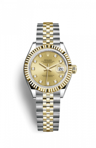Rolex 279173-0011 : Lady-Datejust 28 Rolesor Yellow Fluted / Jubilee / Champagne Diamond