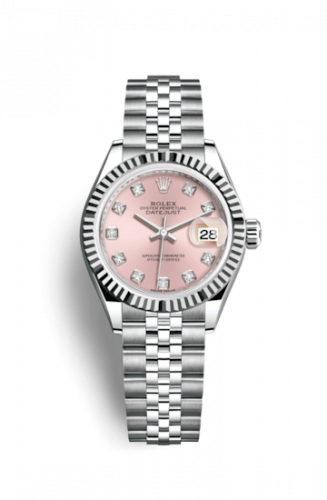 Rolex 279174-0003 : Lady-Datejust 28 Stainless Steel Fluted / Pink - Diamond / Jubilee