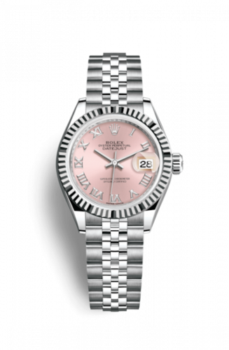Rolex 279174-0017 : Lady-Datejust 28 Stainless Steel Fluted / Pink - Roman / Jubilee