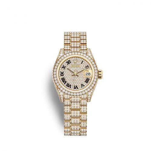 Rolex 279458RBR-0001 : Lady-Datejust 28 Yellow Gold / Diamond / Paved - Roman / President