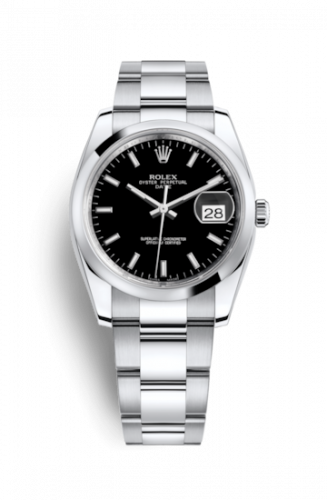115200-0004 : Rolex Oyster Perpetual Date 34 Stainless Steel Domed / Oyster / Black