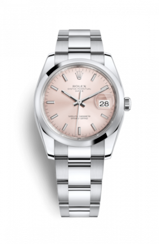 Rolex 115200-0005 : Oyster Perpetual Date 34 Stainless Steel Domed / Oyster / Pink