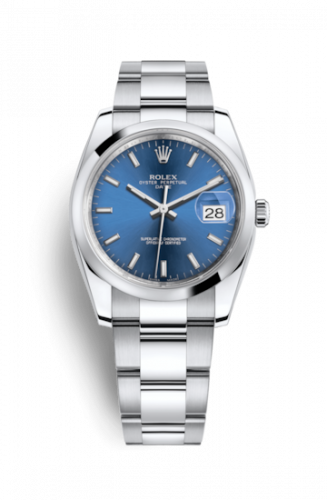 Rolex 115200-0007 : Oyster Perpetual Date 34 Stainless Steel Domed / Oyster / Blue