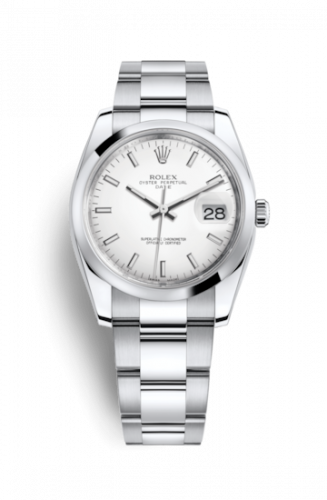115200-0008 : Rolex Oyster Perpetual Date 34 Stainless Steel Domed / Oyster / White