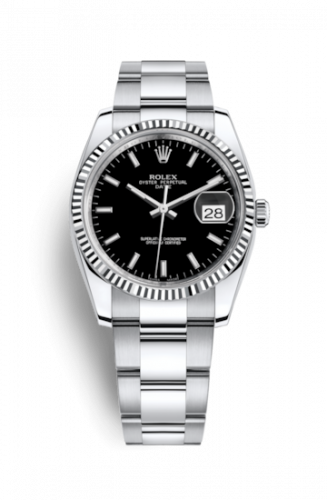 Rolex 115234-0002 : Oyster Perpetual Date 34 Stainless Steel Fluted / Oyster / Black