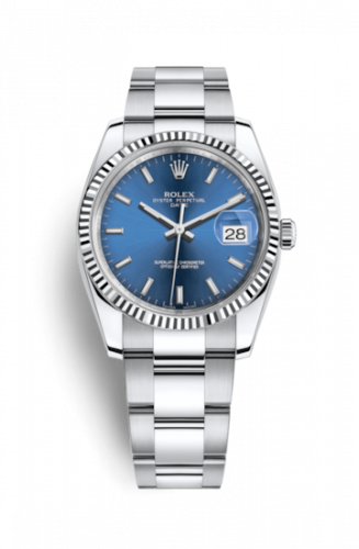 Rolex 115234-0004 : Oyster Perpetual Date 34 Stainless Steel Fluted / Oyster / Blue