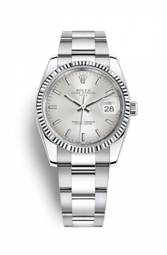 Rolex 115234-0005 : Oyster Perpetual Date 34 Stainless Steel Fluted / Oyster / Silver
