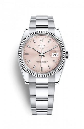 Rolex 115234-0006 : Oyster Perpetual Date 34 Stainless Steel Fluted / Oyster / Pink