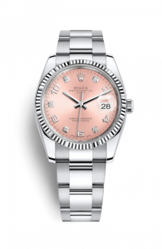 Rolex 115234-0009 : Oyster Perpetual Date 34 Stainless Steel Fluted / Oyster / Pink Arabic