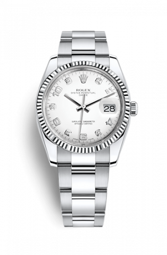 Rolex 115234-0010 : Oyster Perpetual Date 34 Stainless Steel Fluted / Oyster / White Arabic