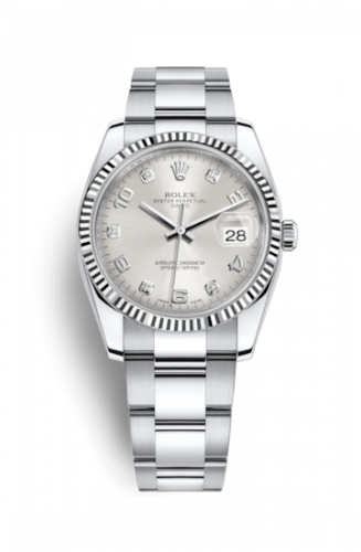 Rolex 115234-0012 : Oyster Perpetual Date 34 Stainless Steel Fluted / Oyster / Silver Arabic