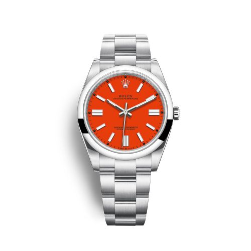 Rolex 124300-0007 : Oyster Perpetual 41 Stainless Steel / Red