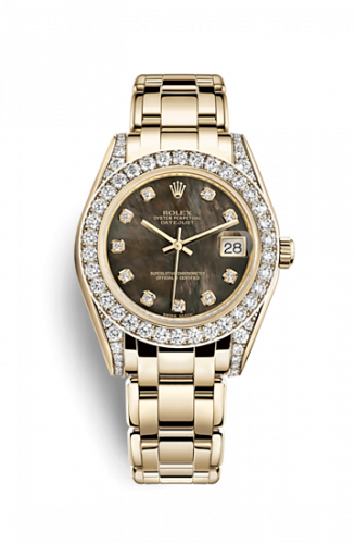 81158-0066 : Rolex Datejust Pearlmaster 34 Yellow Gold Diamond Shoulders Black Mother of Pearl Diamonds