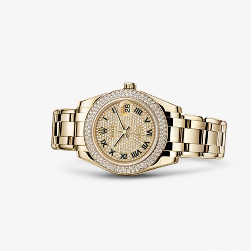 81338-0038 : Rolex Datejust Pearlmaster 34 Yellow Gold Double Diamond Paved Roman