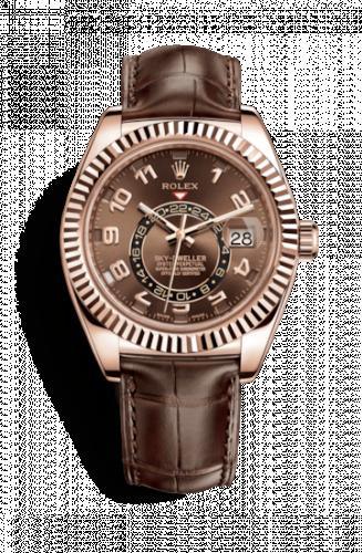 Rolex 326135-0001 : Sky-Dweller Everose / Chocolate / Alligator
