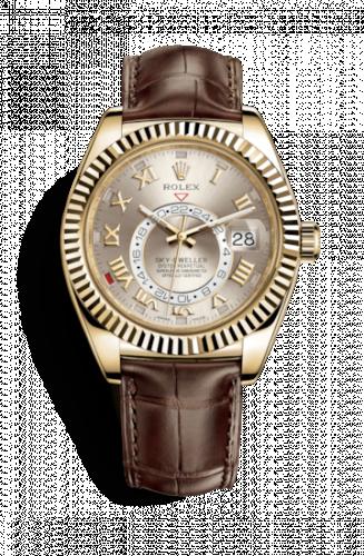 Rolex 326138-0003 : Sky-Dweller Yellow Gold / Silver Roman / Alligator