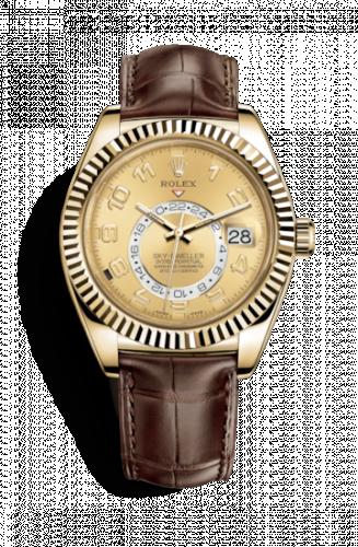 Rolex 326138-0004 : Sky-Dweller Yellow Gold / Champagne Arabic / Alligator