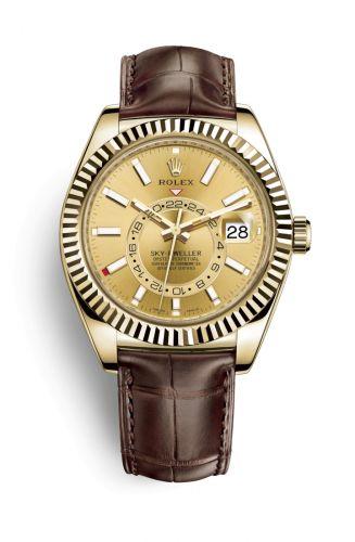 Rolex 326138-0006 : Sky-Dweller Yellow Gold / Champagne / Alligator