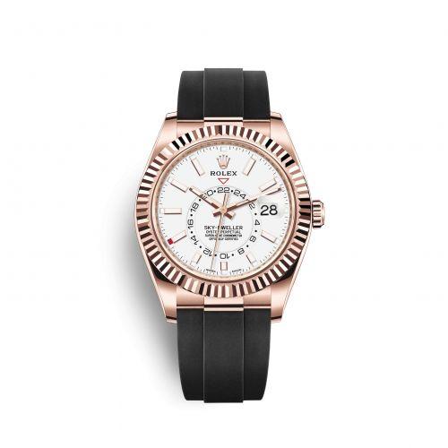 Rolex 326235-0004 : Sky-Dweller Everose / White / Oysterflex