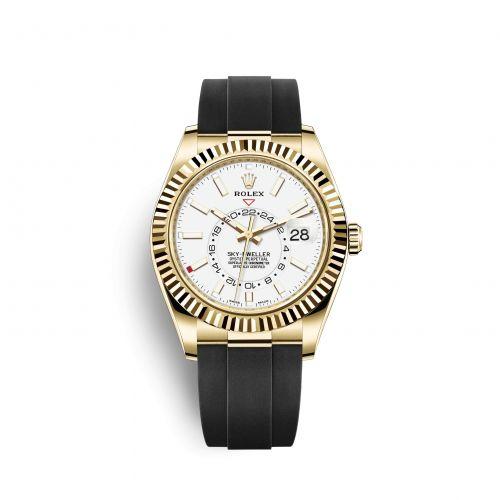 Rolex 326238-0006 : Sky-Dweller Yellow Gold / White / Oysterflex