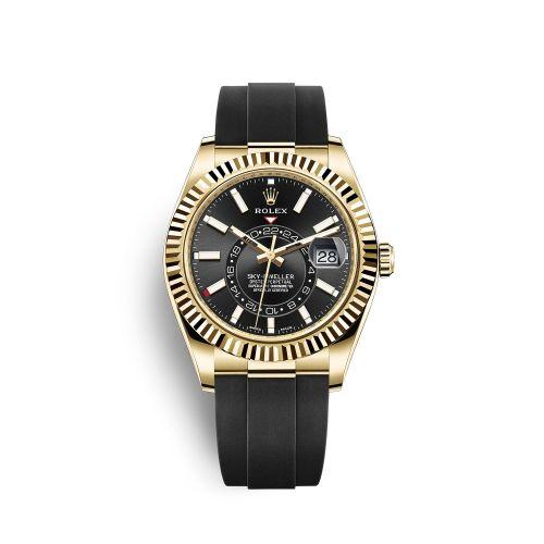 Rolex 326238-0009 : Sky-Dweller Yellow Gold / Black / Oysterflex
