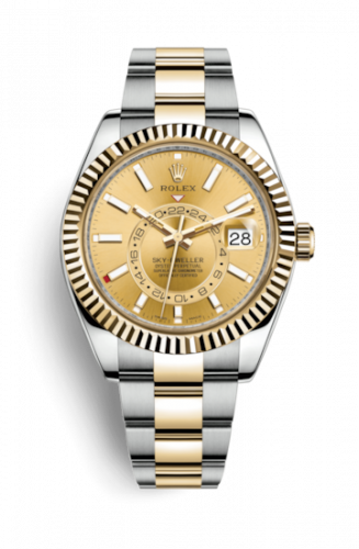 Rolex 326933-0001 : Sky-Dweller Stainless Steel / Yellow Gold / Champagne