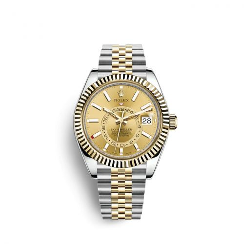 Rolex 326933-0004 : Sky-Dweller Stainless Steel / Yellow Gold / Champagne / Jubilee