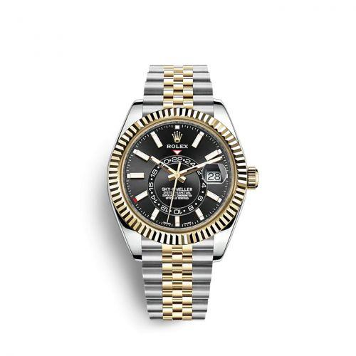 Rolex 326933-0005 : Sky-Dweller Stainless Steel / Yellow Gold / Black / Jubilee
