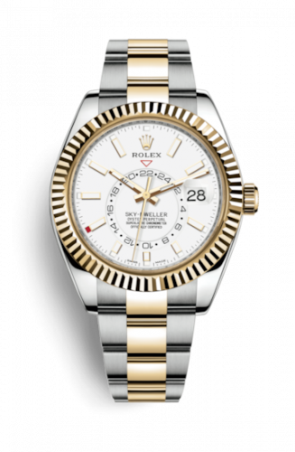 Rolex 326933-0009 : Sky-Dweller Stainless Steel / Yellow Gold / White / Oyster
