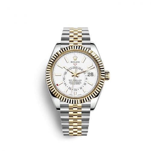 Rolex 326933-0010 : Sky-Dweller Stainless Steel / Yellow Gold / White / Jubilee