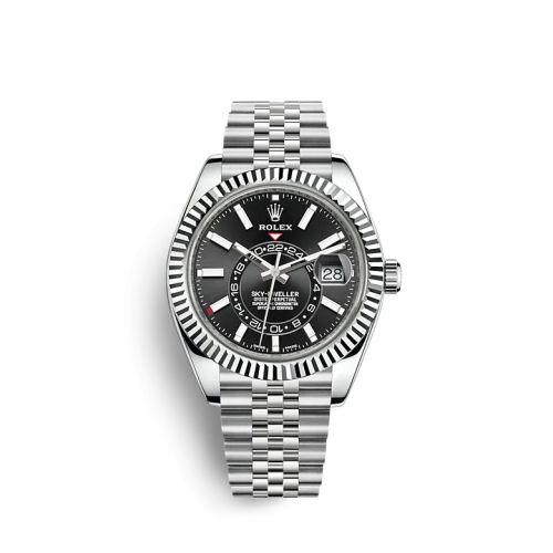 Rolex 326934-0006 : Sky-Dweller Stainless Steel / White Gold / Black / Jubilee