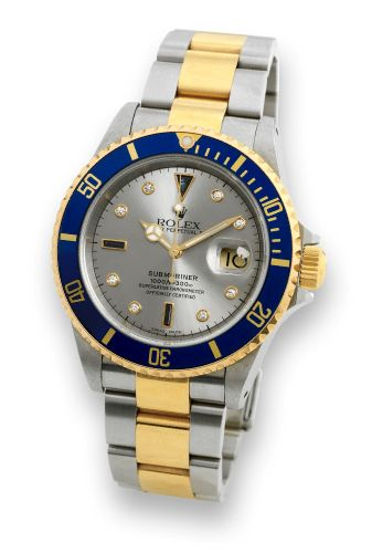 Rolex 16613 Serti Silver : Submariner Date 16613 Serti Silver