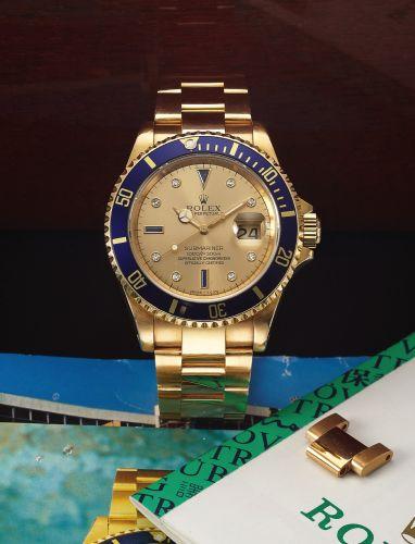 Rolex 16618 Gold Serti : Submariner 16618 Gold Serti