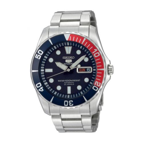 SNZF15K1 : Seiko 5 Sports Stainless Steel / Blue / Pepsi / Bracelet