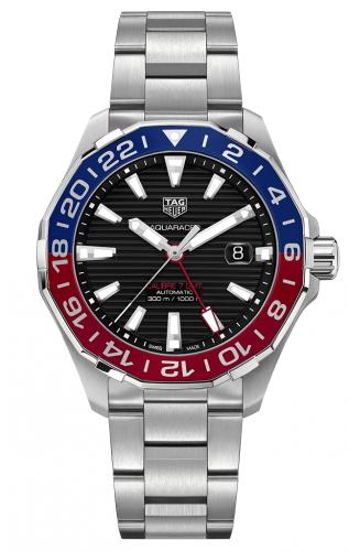 TAG Heuer WAY201F.BA0927 : Aquaracer 300M Calibre 7 GMT Stainless Steel / Black / Bracelet