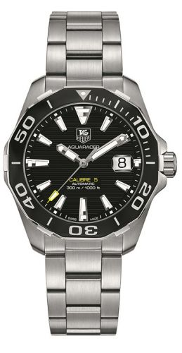 TAG Heuer WAY211A.BA0928 : Aquaracer 300M Calibre 5 41 Stainless Steel / Black / Bracelet