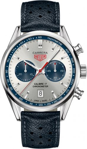 CV5111.FC6335 : TAG Heuer Carrera Calibre 17 41 Stainless Steel / Silver / Calf