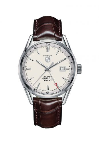 WAR2011.FC6291 : TAG Heuer Calibre 7 Twin Time Stainless Steel / Silver / Alligator