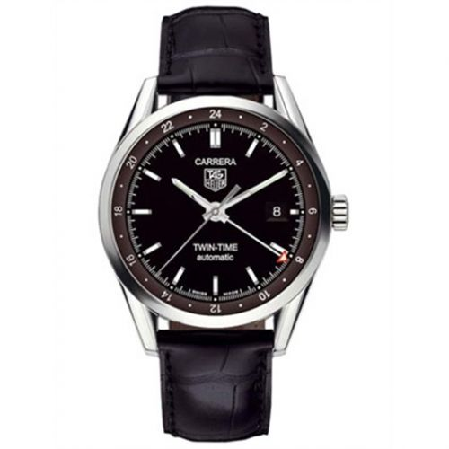 WV2115.FC6180 : TAG Heuer Carrera Calibre 7 Twin Time Stainless Steel / Black / Strap