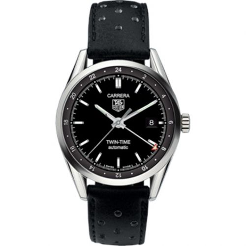 WV2115.FC6182 : TAG Heuer Carrera Calibre 7 Twin Time Stainless Steel / Black / Strap