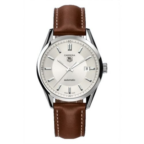 WV211A.FC6203 : TAG Heuer Carrera Calibre 5 39 Stainless Steel / Silver / Calf