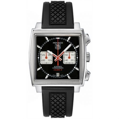 TAG Heuer CAW2114.FT6021 : Monaco Calibre 12 Black / Silver / Rubber