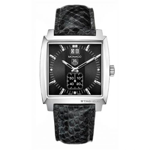 TAG Heuer WAW1310.FC6216 : Monaco Quartz Big Date Stainless Steel / Black / Python